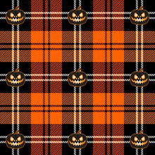 Halloween Tartan Plaid. Scottish Pattern In Black And Orange Cage. Scottish Cage And Pumpkins. Traditional Scottish Checkered Background. Seamless Fabric Texture. Vector Illustration