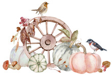 Watercolor Rustic Composition With Pumpkins, Birds And A Wooden Wagon Wheel. Fall Harvest. Hand-drawn Illustration
