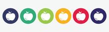 Big Set Of Apple Icon Isolated On White Background.