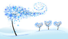 Winter Nature Background With Stylized Trees Representing Season - Winter. Vector.