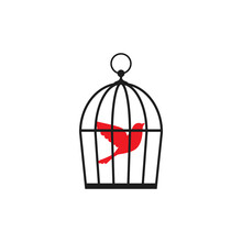 Locked Cage With Red Bird Icon. Trap, Imprisonment, Jail Concept.