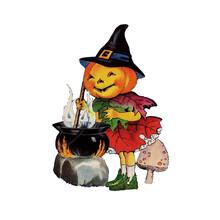 Pumpkin Witch Stirring Cauldron
