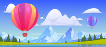 Summer Landscape With Flying Hot Air Balloons, Lake And Mountains. Vector Cartoon Illustration Of Colorful Airships With Baskets Fly Over River, Green Meadows, Coniferous Forest And White Rocks
