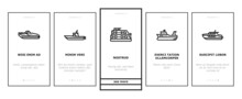 Boat Water Transportation Types Onboarding Mobile App Page Screen Vector. Runabout And Catamaran, Fishing And Bowrider, Motor Yacht And Cabin Cruiser Boat Illustrations