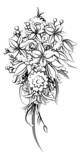 Floral Flower Bouquet in a Sketch Drawing Style