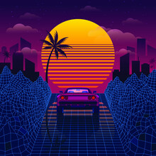 Retro Car On The Blue Road Among 3D Mountains Synthwave Or Retrowave Style Back To The 80s And 90s