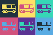 Pop Art Bus Icon Isolated On Color Background. Transportation Concept. Bus Tour Transport. Tourism Or Public Vehicle Symbol. Vector