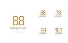 Year Anniversary Set Elegant Vector Template Design Illustration