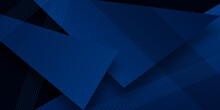 Modern Simple Dark Navy Blue Background With Overlap Triangle Layers. Blue Abstract Background With Blank Space For Text. Modern Element For Banner, Presentation Design And Flyer