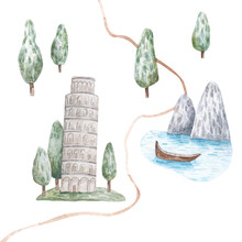 Summer Landscape With Trees And Mountains, Lake, Leaning Tower Of Pisa, Cute Watercolor Childrens Illustration On White Background