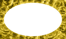 White Oval On Yellow Roses Flower Frame Background, Nature, Valentine, Banner, Template, Copy Space