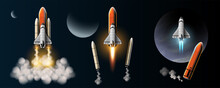 Rockets Are Launched To Take Spacecraft To Outer Space. Vector Illustration In 3D Style