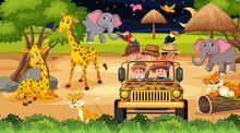 Safari At Night Time Scene With Many Kids Watching Animals