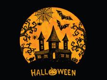 Halloween Horror Night Vector Background. Hand Drawn Illustration.