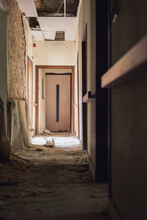 Dilapidated Dirty Hallway In An Abandoned Care Home.