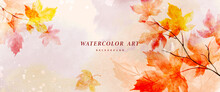 Watercolor Autumn Abstract Background With Maple Leaves