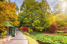 Rotunda With Pathway  Across Colorful Autumn Park In Mount Lofty, South Australia