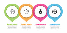 Set Bicycle Wheel, Brake Disc, Derailleur Bicycle Rear And Sprocket Crank. Business Infographic Template. Vector