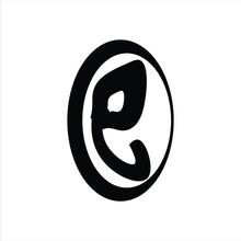 Simple Logo Letter E And Black Elephant Head