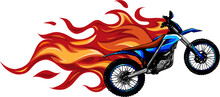 Motocross Mid Air Flames Vector Illustration Design