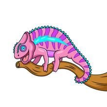 Cartoon Pink Chameleon On A Tree Branch