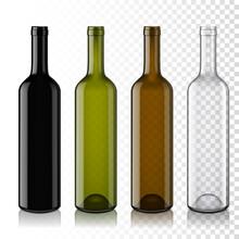 Set Of Transparent Empty Wine Bottles, Isolated.