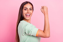 Profile Side Photo Of Young Woman Happy Positive Smile Coronavirus Vaccination Victory Isolated Over Pink Color Background