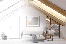 A Sketch Becomes A Real Christmas Attic With A Horizontal Poster On A Brick Wall, Gifts, A Spruce Branch Decorated With Christmas Balls Over A Served Table, Chairs In Covers With Bows. 3d Render