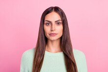Photo Of Young Attractive Business Woman Serious Confident Concentrated Isolated Over Pink Color Background