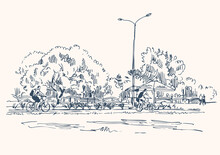 Sketch Of A City Park With Cyclists On A Bicycle Path.