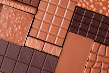 Various Chocolate Bar, Top View. Delicious Cocoa Dessert, Food Background.