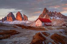 Sunset At Tre Cime Di Lavaredo (Drei Zinnen) And Rifugio Locatelli , Dolomites, South Tyrol
