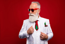 Photo Of Cool Imposing Serious Old Man Look Empty Space Wear Three Piece Suit Tree Tie Isolated On Red Color Background