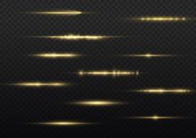 Horizontal Light Rays, Yellow Line, Laser Beams.