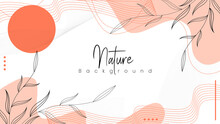 Japanese Theme Abstract Nature Background, Unique, Simple And Minimalist Background With A Combination Of Leaves And Curved Lines.