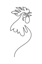 Crowing Rooster In Continuous Line Art Drawing Style. Cock Portrait Minimalist Black Linear Sketch Isolated On White Background. Vector Illustration