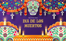Day Of The Dead, Dia De Los Muertos 3d Podium Round, Square Stage With Paper Cut Art Elements Craft Style On Background.