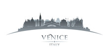 Venice Italy City Silhouette White Background