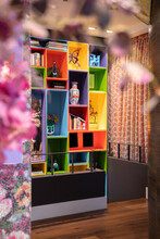 Living Room With Colorful Shelves For Books And Souvenirs