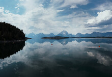 A Wide Angle View Of Lake Jackson With The Grand Tetons