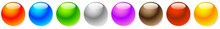 Shiny, Glossy Empty Sphere, Circle, Bead Icons With Copyspace