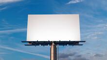 Marketing Billboard. Blank Exterior Sign Against A Sunset Sky. Design Template.