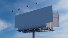 Marketing Billboard. Blank Outdoor Sign Against A Hazy Morning Sky. Mockup Template.