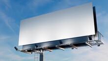 Advertising Billboard. Empty Large Format Sign Against A Dusk Sky. Mockup Template.