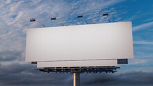 Marketing Billboard. Blank Outdoor Sign Against A Sunset Sky. Design Template.