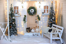 Christmas Interior For A Photo Shoot In White Colors.