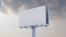 Commercial Billboard. Empty Large Format Sign Against A Cloudy Morning Sky. Mockup Template.