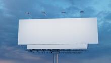 Commercial Billboard. Blank Exterior Sign Against A Dusk Sky. Design Template.