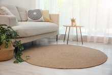 Living Room Interior With Comfortable Sofa And Stylish Round Rug