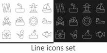 Set Line Fish, Cargo Ship, Lighthouse, Sinking Cruise, Skull On Crossbones, Flippers For Swimming, Ship Porthole And Periscope Icon. Vector